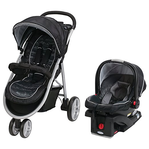 Graco 3 wheel baby stroller with car seat